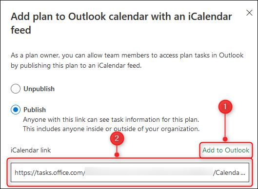 Les options pour ajouter le planificateur à votre calendrier ou copier un lien iCalendar.