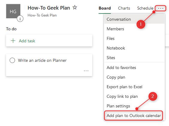 """Le menu contextuel du planificateur avec """"Ajouter un plan au calendrier Outlook"""" option mise en évidence."""