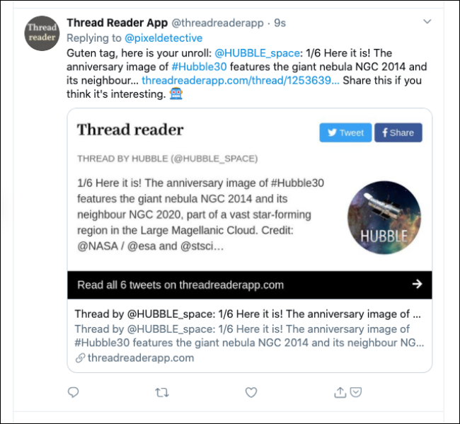 Réponse de l'application Thread Reader