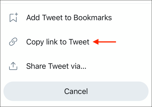 Sélectionnez l'option Copier le lien vers Tweet dans le menu de partage Twitter