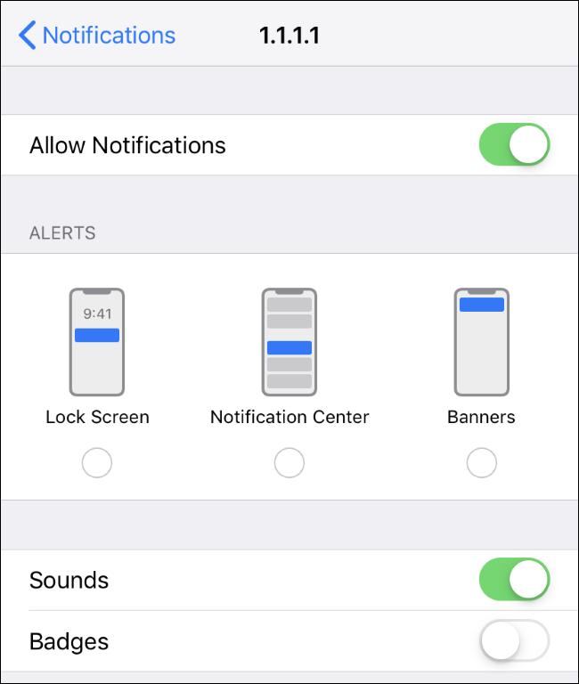 """l'appli de l'iPhone """"Notifications"""" écran."""
