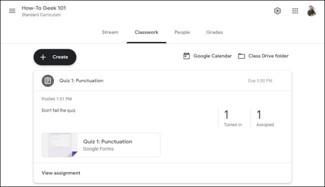 """le """"Travail de classe"""" tab dans """"Google Classroom."""""""