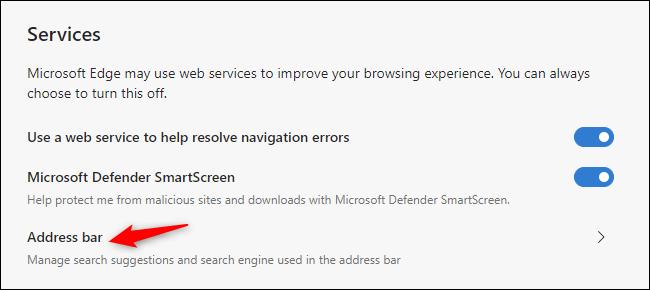 Recherche du choix de moteur de recherche par défaut dans Microsoft Edge