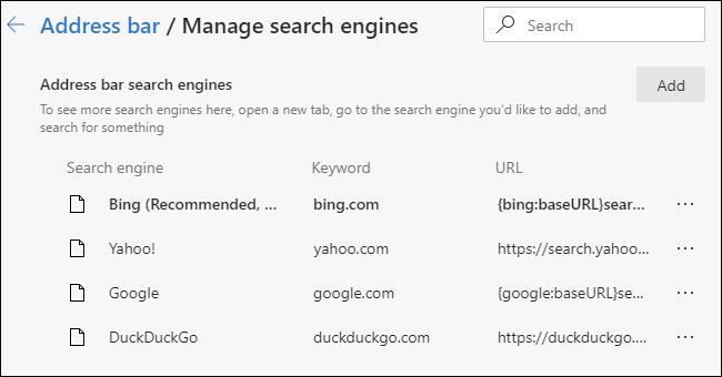 Gérer la liste des moteurs de recherche disponibles dans le navigateur Edge basé sur Chromium.