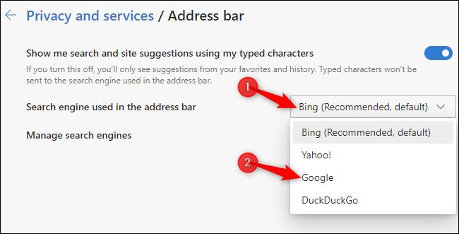 Choix d'un moteur de recherche de barre d'adresse par défaut dans le nouveau navigateur Microsoft Edge basé sur Chromium.