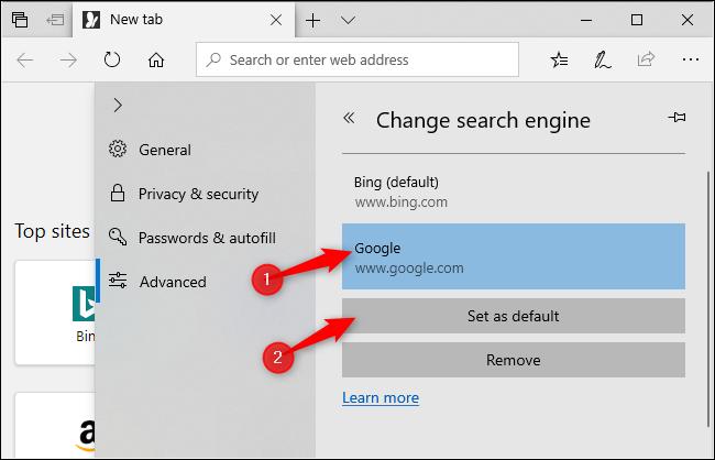 Sélection de Google comme moteur de recherche par défaut d'Edge.