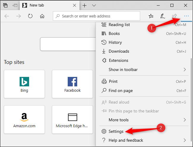 Ouverture du menu Paramètres de Microsoft Edge.