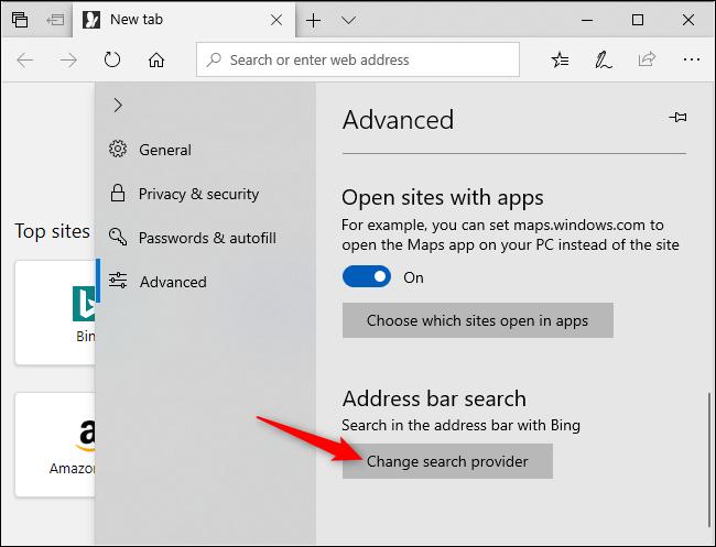 Modification du moteur de recherche par défaut dans Microsoft Edge.
