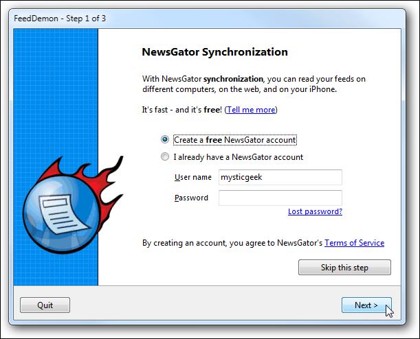 synchronisation de Newsgator