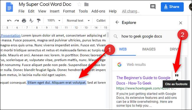 Mettez du texte en surbrillance ou placez le curseur à l'endroit où vous souhaitez citer quelque chose, puis cliquez sur l'icône de citations qui apparaît lorsque vous survolez un lien.