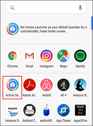 Les utilisateurs du lanceur d'action peuvent accéder au menu Paramètres d'action via le tiroir d'applications