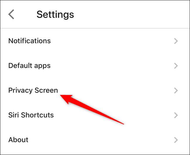 """Appuyez sur le """"Écran privé"""" option"""