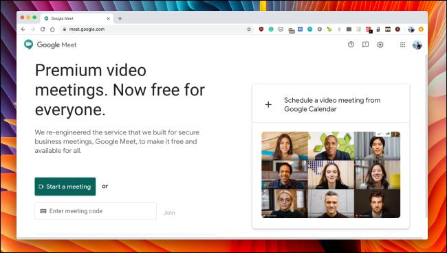 Le site Web de Google Meet.