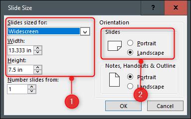 Définir la taille et l'orientation des diapositives