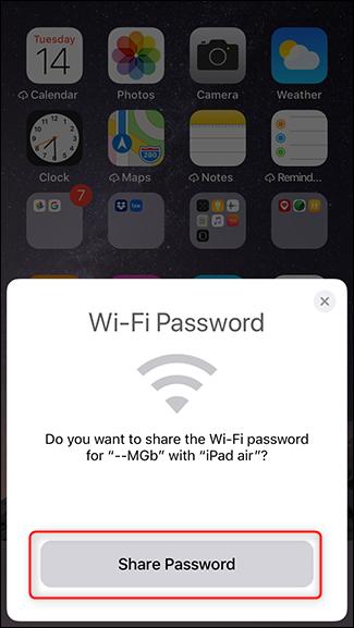 Étape 5 - Appuyez sur partager le mot de passe