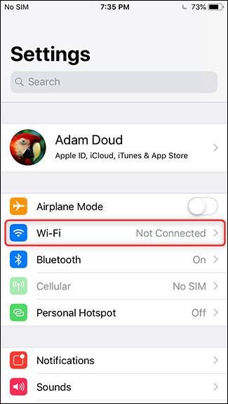 Étape 2 - Appuyez sur Wi-Fi