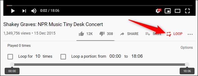 """Lorsque vous lancez une vidéo, cliquez sur le """"Boucle"""" icône, située sous le lecteur vidéo."""