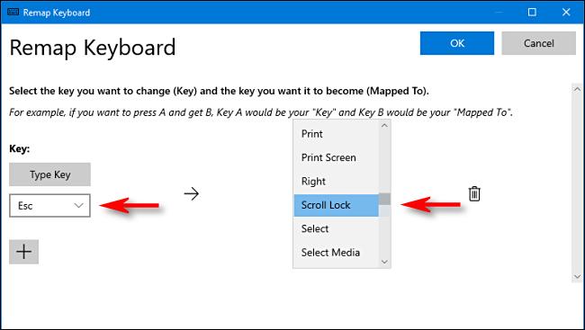 Sélectionnez les clés à remapper dans Power Toys sous Windows 10.