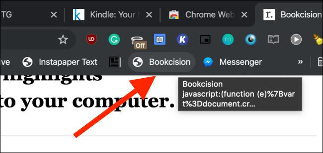 Cliquez sur Bookcision bookmarklet