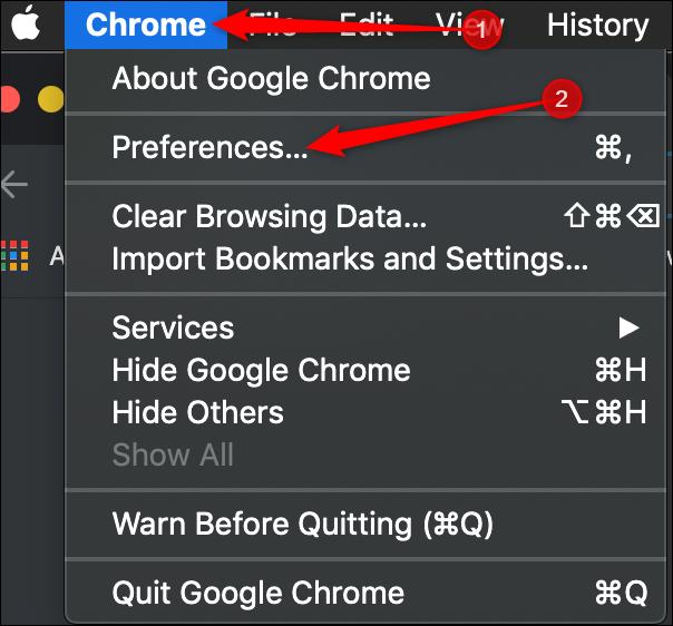 Cliquez sur Chrome> Préférences dans la barre de menus.» width=»604″ height=»562″ onload=»pagespeed.lazyLoadImages.loadIfVisibleAndMaybeBeacon(this);» onerror=»this.onerror=null;pagespeed.lazyLoadImages.loadIfVisibleAndMaybeBeacon(this);»/></p> <p>Dans le panneau de gauche, cliquez sur «Navigateur par défaut».</p> <p><img loading=