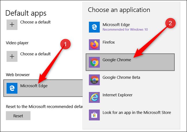 Sous Navigateur Web, cliquez sur la valeur par défaut actuelle, puis cliquez sur Google Chrome dans la liste qui apparaît.