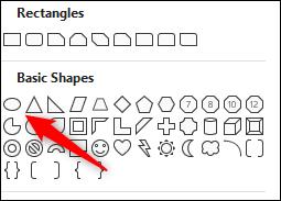 Forme ovale dans le groupe des formes de base