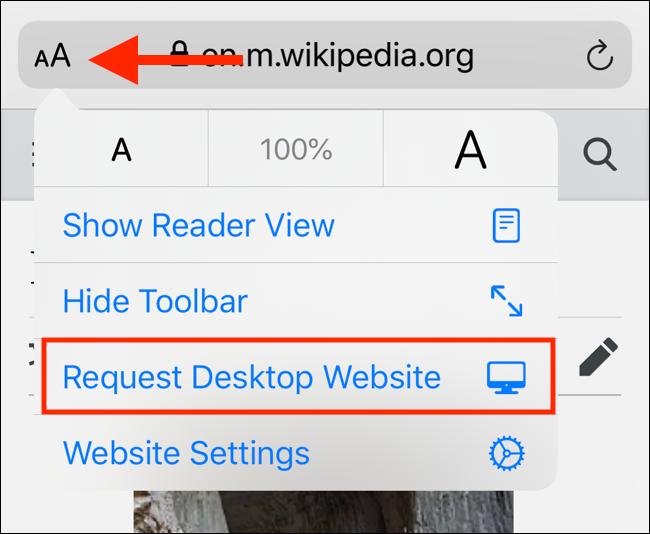 Nouveau menu dans iOS 13 pour demander le site Web de bureau
