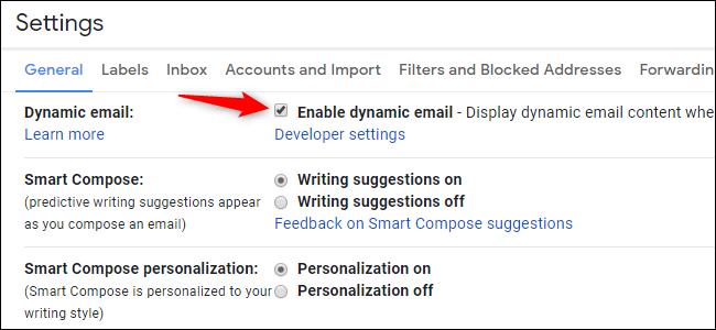 Option pour désactiver ou activer la messagerie dynamique dans Gmail