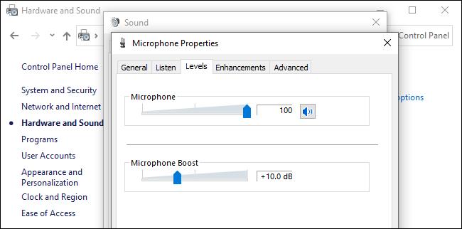 Niveau de volume du microphone et options d'amplification qui affectent le bruit de fond