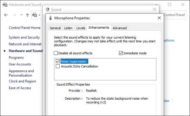 Activation de la suppression du bruit sur Windows 10