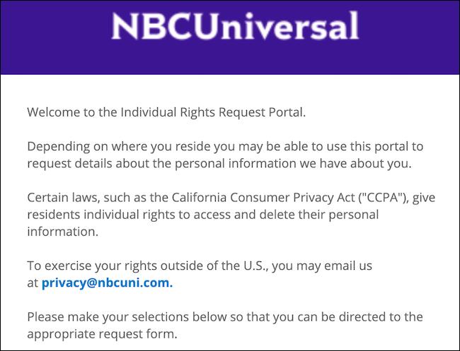 Portail de demande de droits individuels NBCUniversal