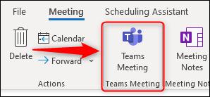 """le """"Réunion des équipes"""" option dans une nouvelle demande de réunion."""