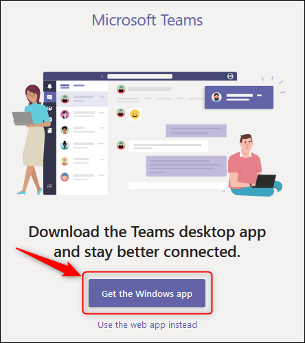 """le """"Téléchargez l'application Windows"""" bouton dans Teams en ligne."""
