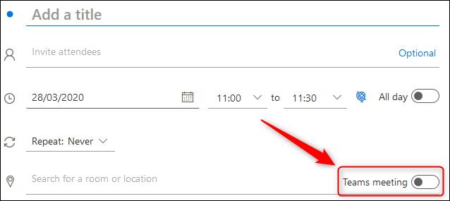 """le """"Réunion d'équipes"""" bascule dans une demande de réunion Outlook Online."""