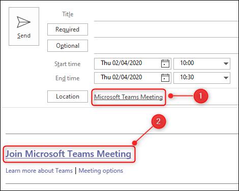 Une demande de réunion Teams.