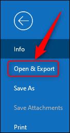"Outlook ""Ouvrir et exporter"" option."