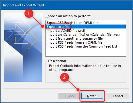 """le """"Assistant d'importation et d'exportation"""" avec le """"Exporter vers un fichier"""" option en surbrillance."""