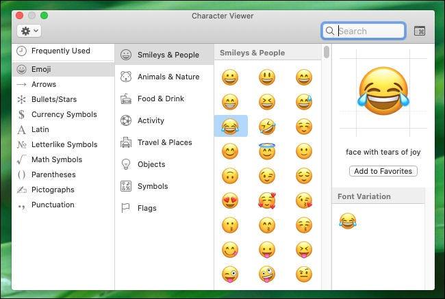 Examen de la fenêtre de la visionneuse de caractères sur Mac.