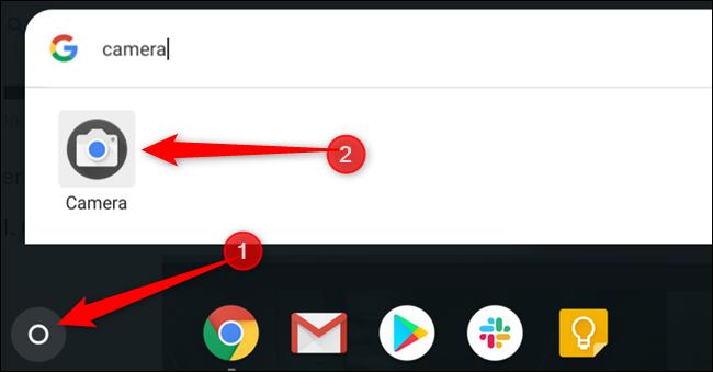 Appuyez sur le bouton Rechercher, puis tapez Appareil photo pour trouver l'application Appareil photo