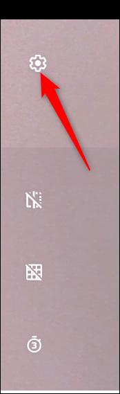 Cliquez sur le rouage Paramètres pour modifier quelques-uns des paramètres de l'appareil photo.