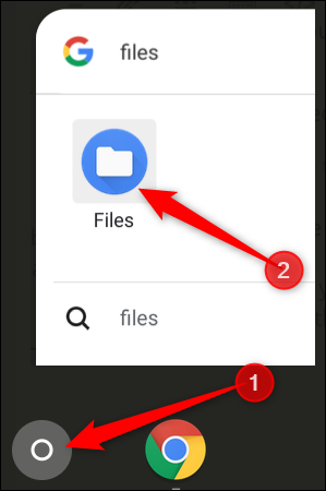 Appuyez sur le bouton Rechercher, puis tapez Fichiers pour trouver l'application Fichiers
