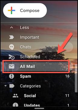 Appuyez sur l'onglet Tous les e-mails dans Gmail pour afficher tous les e-mails, y compris les e-mails archivés