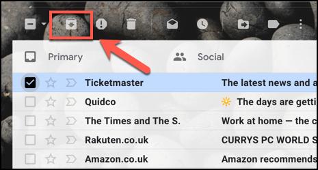 Appuyez sur le bouton Archiver pour archiver un e-mail dans Gmail