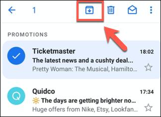 Appuyez sur le bouton Archiver sur n'importe quel e-mail sélectionné pour archiver les e-mails dans l'application Gmail