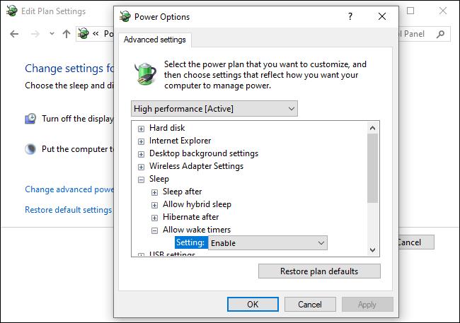 Activation des minuteries de réveil dans le panneau de configuration de Windows 10
