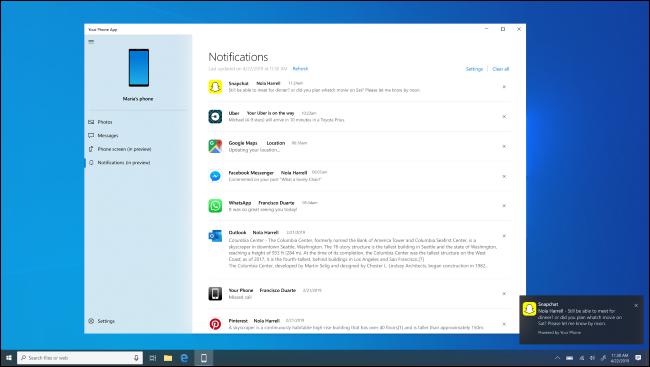 Application Windows 10 Votre téléphone affichant les notifications Android