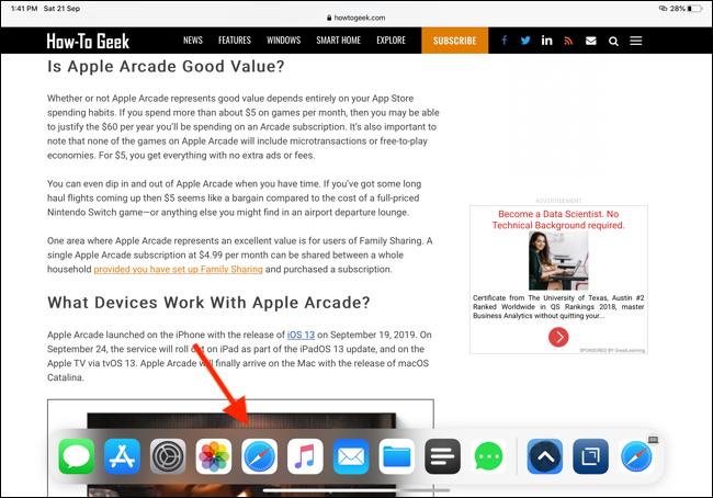 Appuyez sur l'icône Safari depuis le Dock pour ouvrir l'application Safari Expose