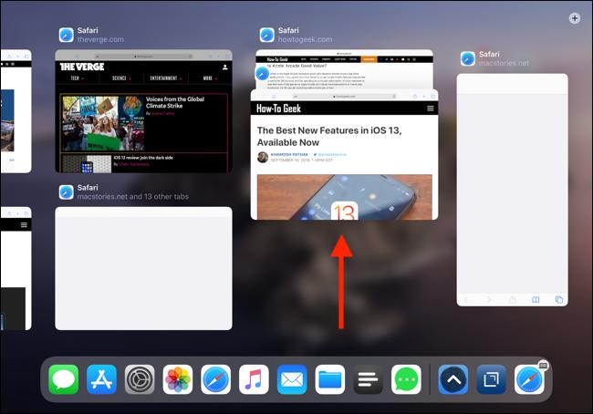 Faites glisser votre doigt vers le haut pour quitter une application depuis App Expose