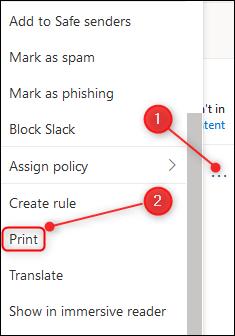 Les trois points en haut à droite du courrier et l'option Imprimer.