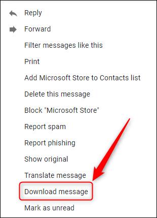 """le """"Télécharger le message"""" options."""
